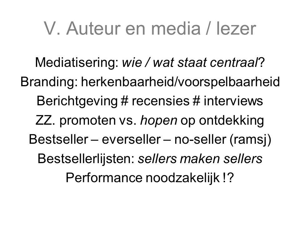 V. Auteur en media / lezer Mediatisering: wie / wat staat centraal.