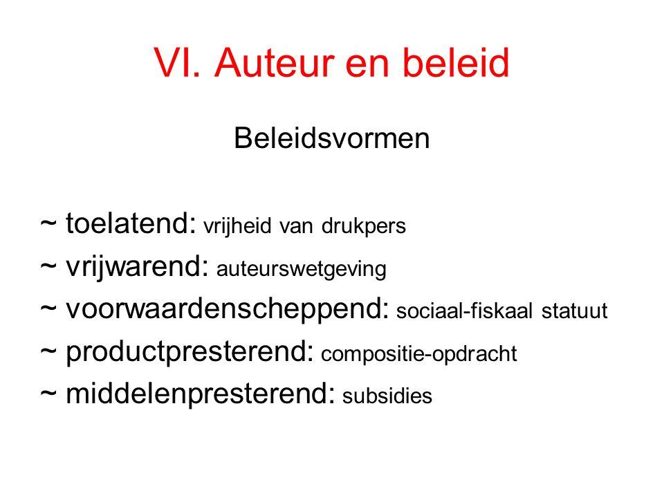 VI. Auteur en beleid Beleidsvormen ~ toelatend: vrijheid van drukpers ~ vrijwarend: auteurswetgeving ~ voorwaardenscheppend: sociaal-fiskaal statuut ~