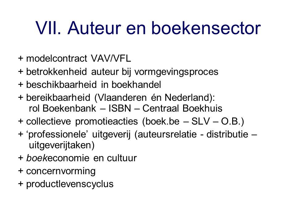 VII. Auteur en boekensector + modelcontract VAV/VFL + betrokkenheid auteur bij vormgevingsproces + beschikbaarheid in boekhandel + bereikbaarheid (Vla