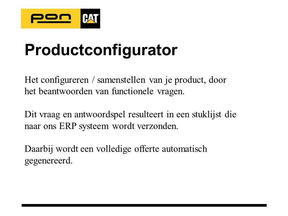 Productconfigurator Het configureren / samenstellen van je product, door het beantwoorden van functionele vragen. Dit vraag en antwoordspel resulteert