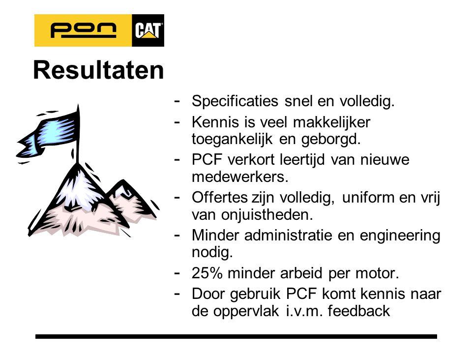 Resultaten - Specificaties snel en volledig. - Kennis is veel makkelijker toegankelijk en geborgd.