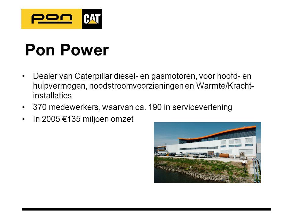 Pon Power •Dealer van Caterpillar diesel- en gasmotoren, voor hoofd- en hulpvermogen, noodstroomvoorzieningen en Warmte/Kracht- installaties •370 medewerkers, waarvan ca.