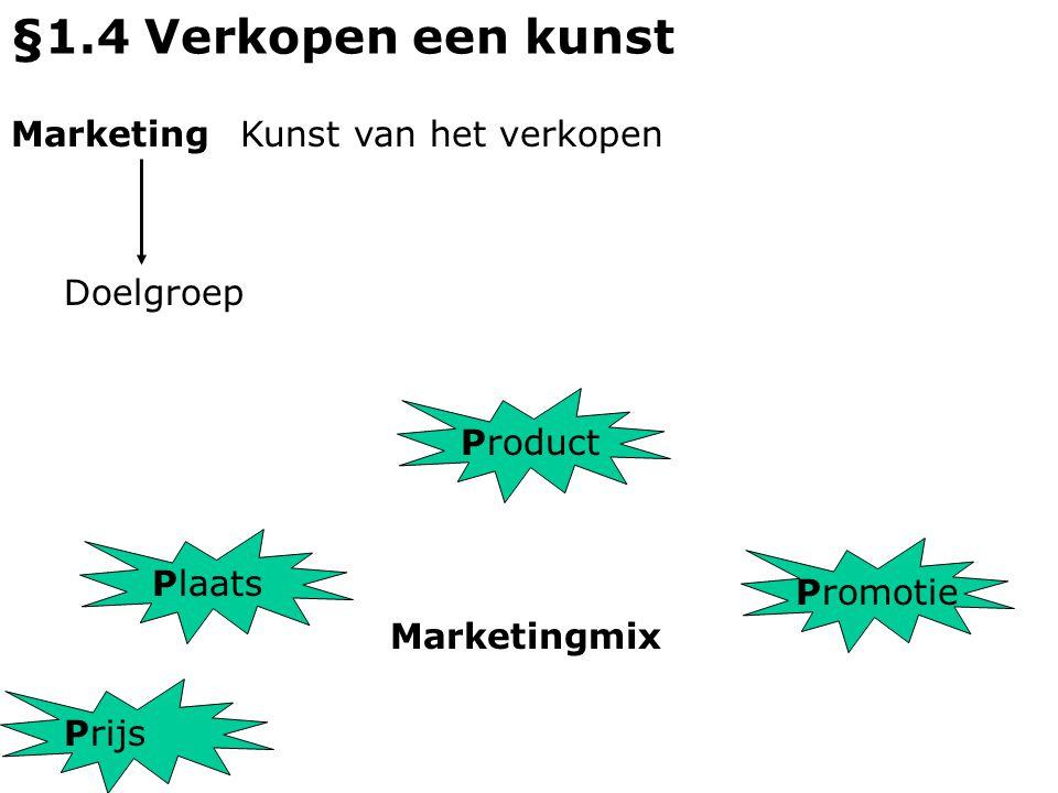 §1.4 Verkopen een kunst MarketingKunst van het verkopen P P P P rijs laats roduct romotie Doelgroep Marketingmix