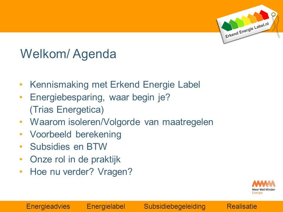 Energieadvies Energielabel Subsidiebegeleiding Realisatie Welkom/ Agenda •Kennismaking met Erkend Energie Label •Energiebesparing, waar begin je? (Tri