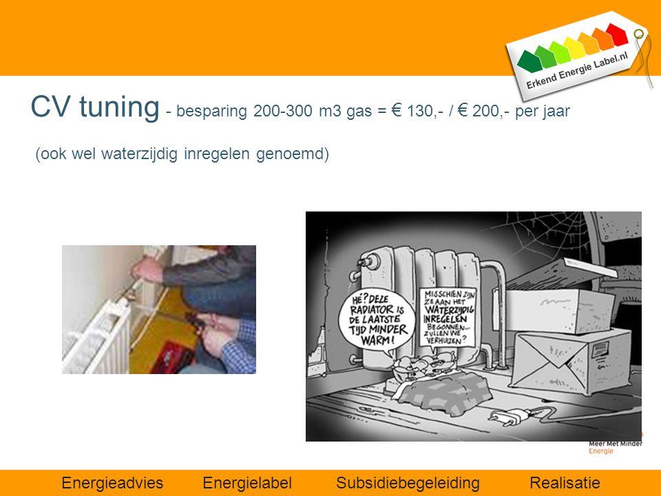 Energieadvies Energielabel Subsidiebegeleiding Realisatie CV tuning - besparing 200-300 m3 gas = € 130,- / € 200,- per jaar (ook wel waterzijdig inreg