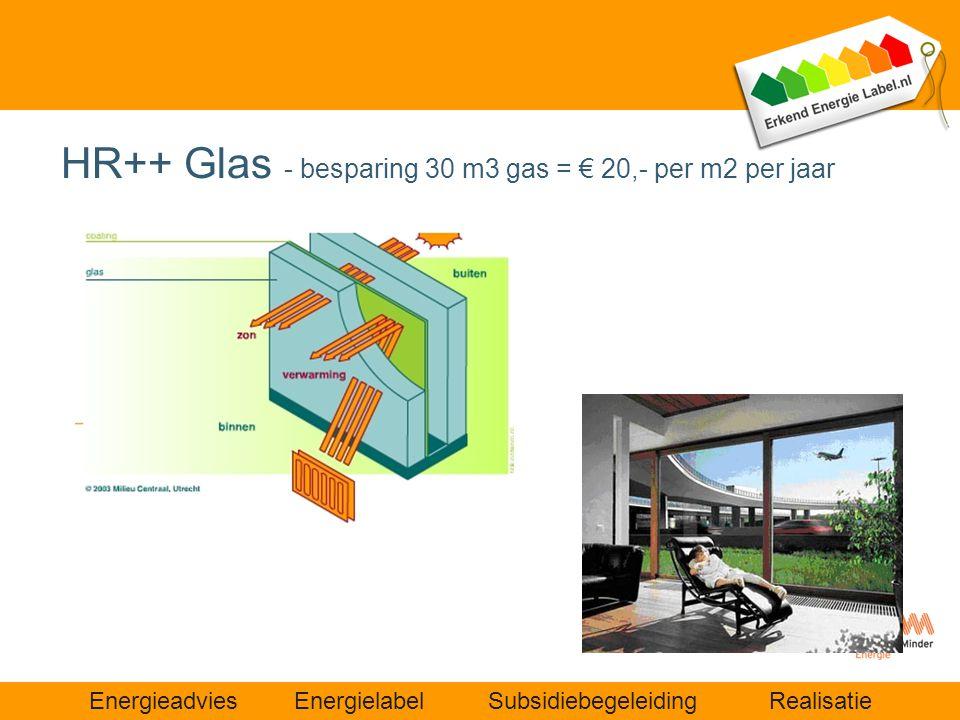 Energieadvies Energielabel Subsidiebegeleiding Realisatie HR++ Glas - besparing 30 m3 gas = € 20,- per m2 per jaar