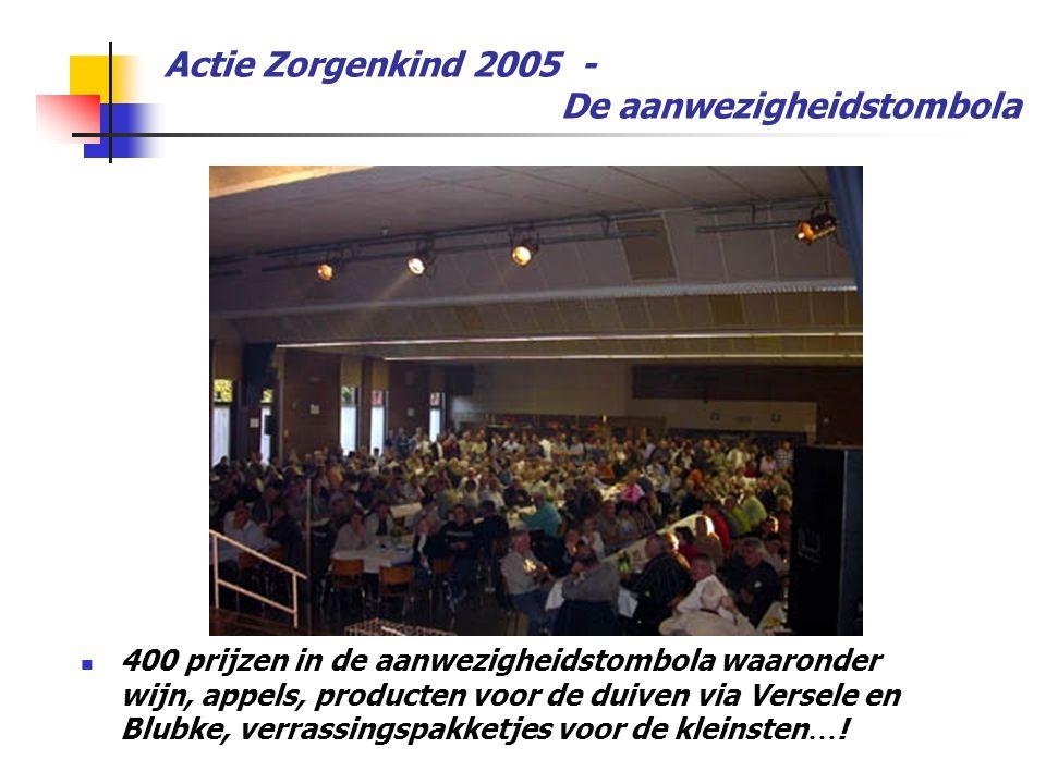 Actie Zorgenkind 2005 - De aanwezigheidstombola  400 prijzen in de aanwezigheidstombola waaronder wijn, appels, producten voor de duiven via Versele en Blubke, verrassingspakketjes voor de kleinsten … !