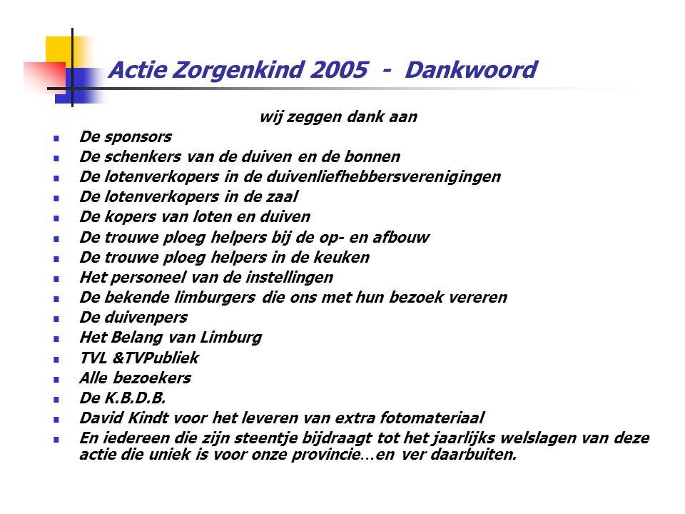 Actie Zorgenkind 2005 - Dankwoord wij zeggen dank aan  De sponsors  De schenkers van de duiven en de bonnen  De lotenverkopers in de duivenliefhebbersverenigingen  De lotenverkopers in de zaal  De kopers van loten en duiven  De trouwe ploeg helpers bij de op- en afbouw  De trouwe ploeg helpers in de keuken  Het personeel van de instellingen  De bekende limburgers die ons met hun bezoek vereren  De duivenpers  Het Belang van Limburg  TVL &TVPubliek  Alle bezoekers  De K.B.D.B.