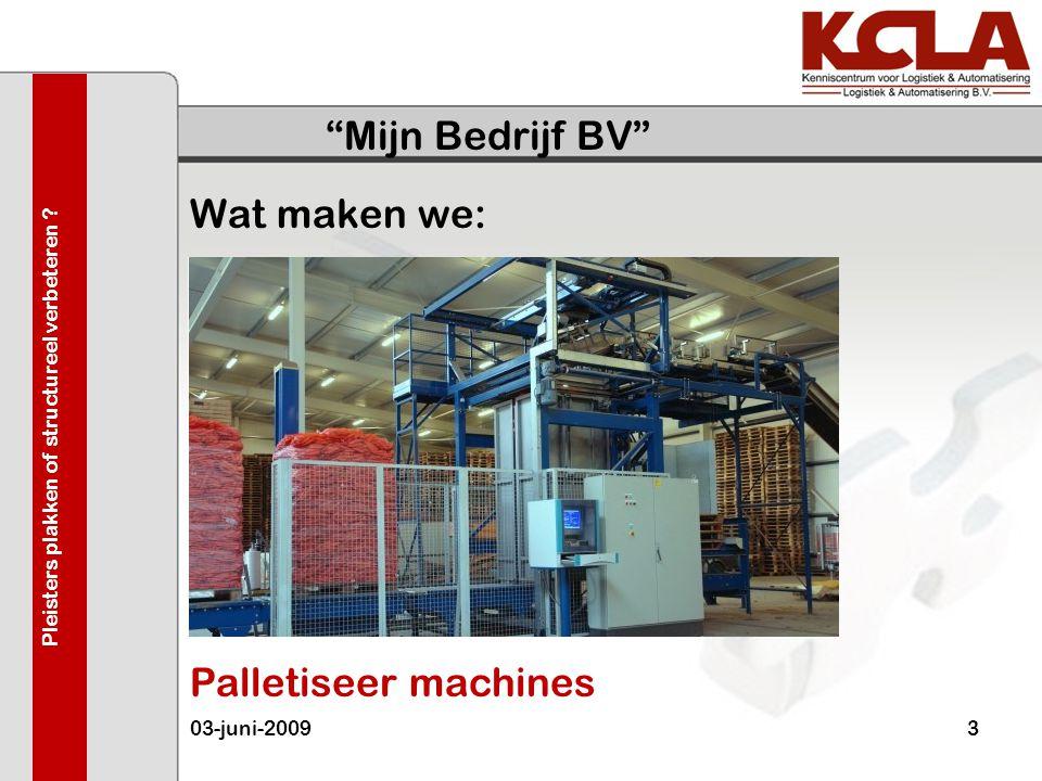 """""""Mijn Bedrijf BV"""" Wat maken we: 03-juni-20093 Pleisters plakken of structureel verbeteren ? Palletiseer machines"""