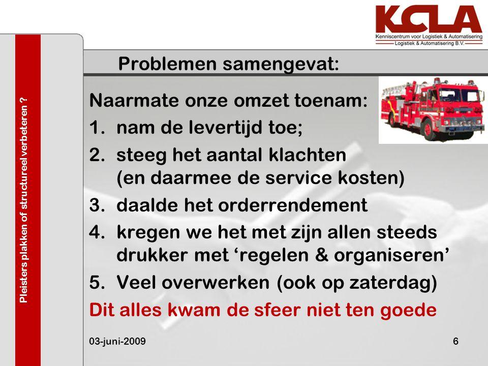 Problemen samengevat: Naarmate onze omzet toenam: 1.nam de levertijd toe; 2.steeg het aantal klachten (en daarmee de service kosten) 3.daalde het orde
