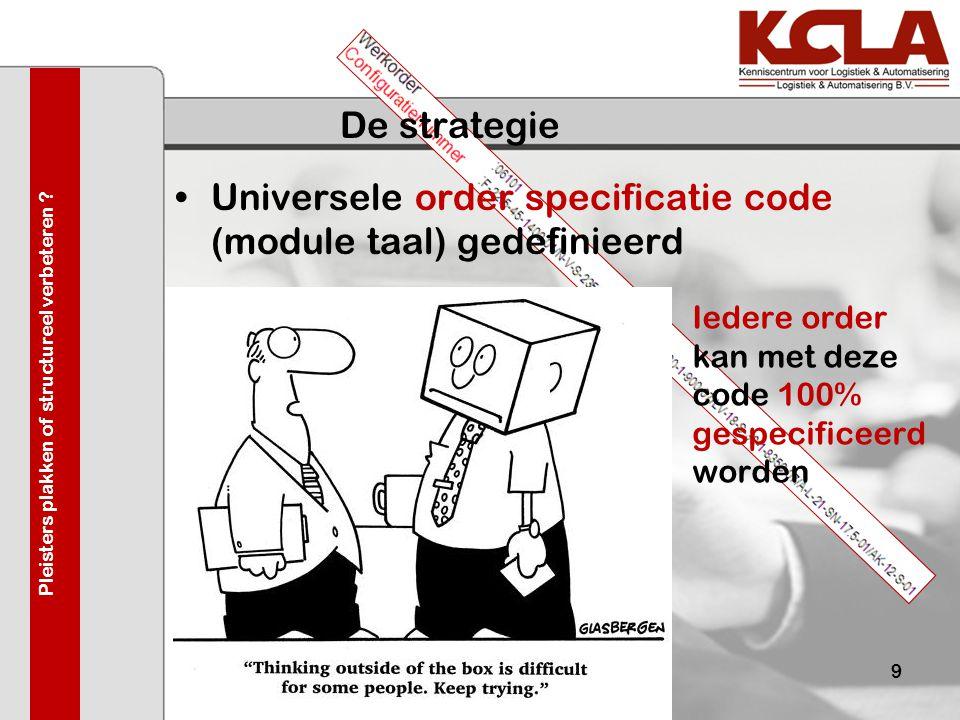 De strategie •Universele order specificatie code (module taal) gedefinieerd 03-juni-20099 Iedere order kan met deze code 100% gespecificeerd worden Pl