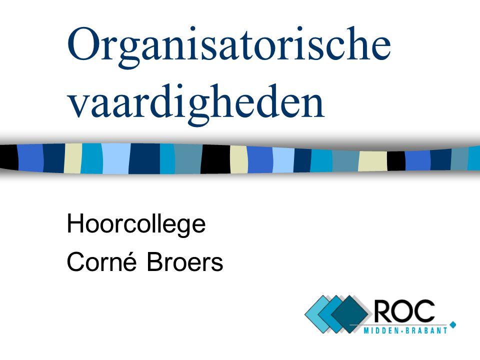 Organisatorische vaardigheden Hoorcollege Corné Broers