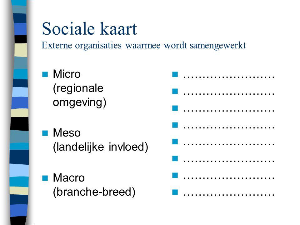 Sociale kaart Externe organisaties waarmee wordt samengewerkt  Micro (regionale omgeving)  Meso (landelijke invloed)  Macro (branche-breed)  ……………………