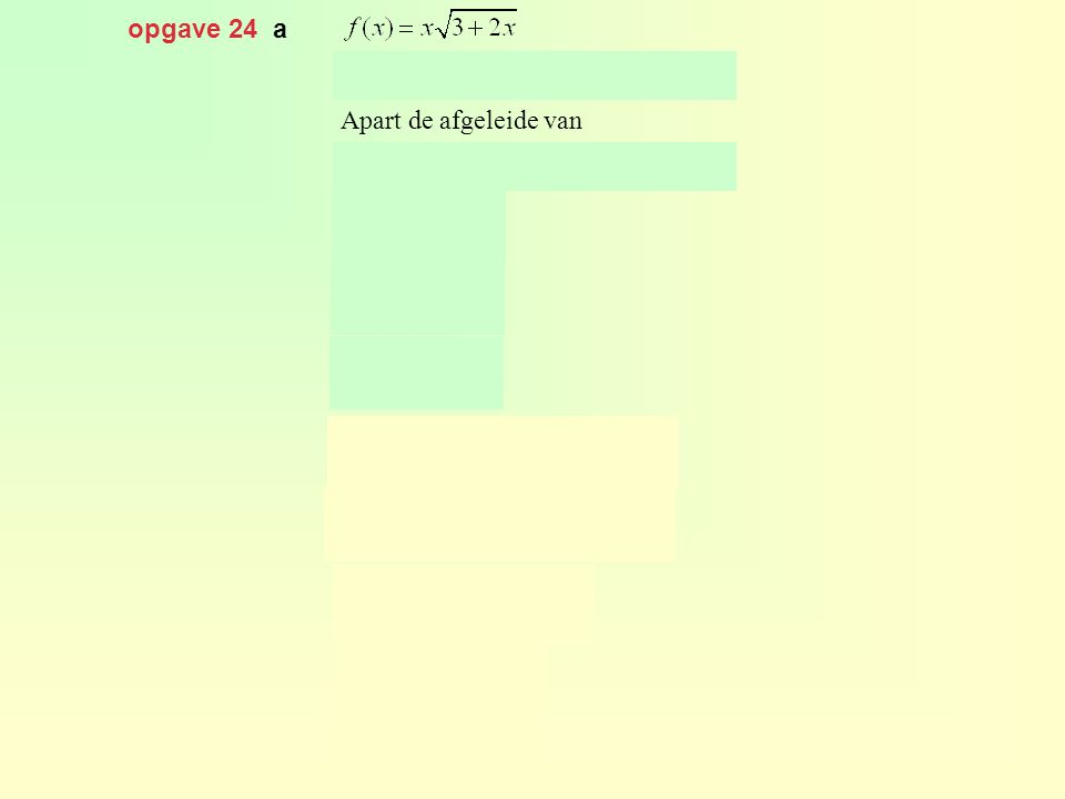 opgave 24 a Apart de afgeleide van met u = 3 + 2x