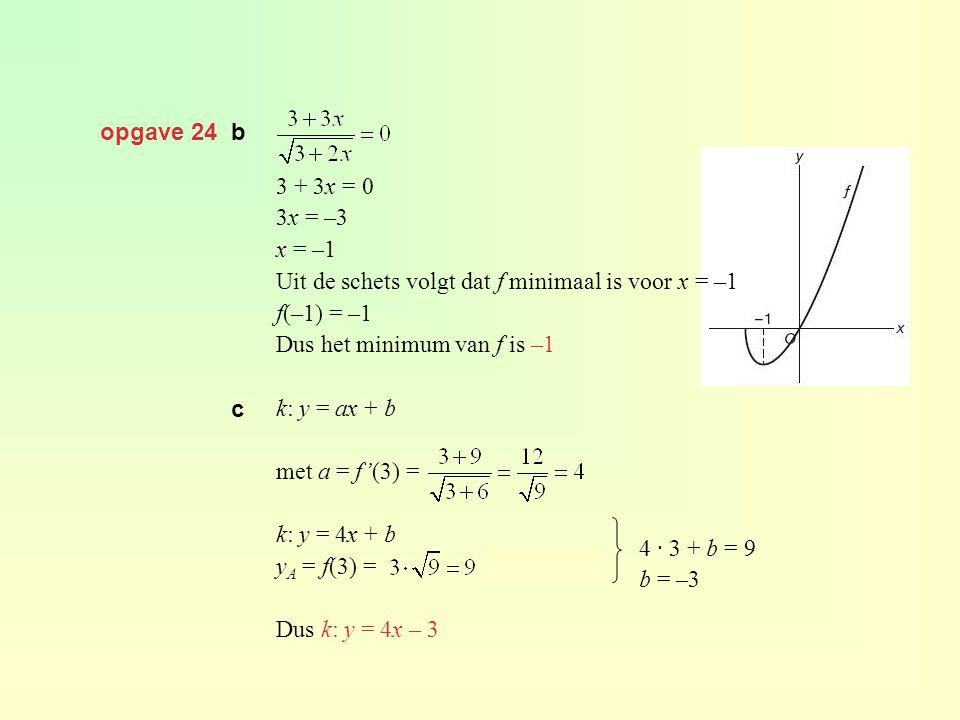 opgave 24 b 3 + 3x = 0 3x = –3 x = –1 Uit de schets volgt dat f minimaal is voor x = –1 f(–1) = –1 Dus het minimum van f is –1 k: y = ax + b met a = f