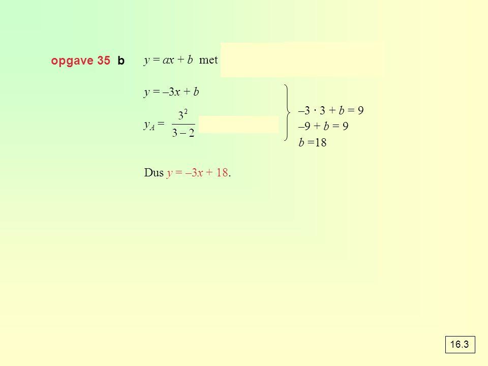 opgave 35 b y = ax + b met a = y = –3x + b y A = = 9, dus A(3, 9) Dus y = –3x + 18. –3 · 3 + b = 9 –9 + b = 9 b =18 16.3