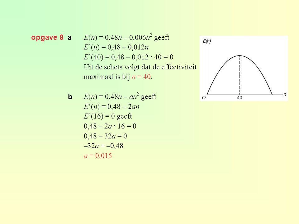 opgave 8 a E(n) = 0,48n – 0,006n 2 geeft E'(n) = 0,48 – 0,012n E'(40) = 0,48 – 0,012 · 40 = 0 Uit de schets volgt dat de effectiviteit maximaal is bij