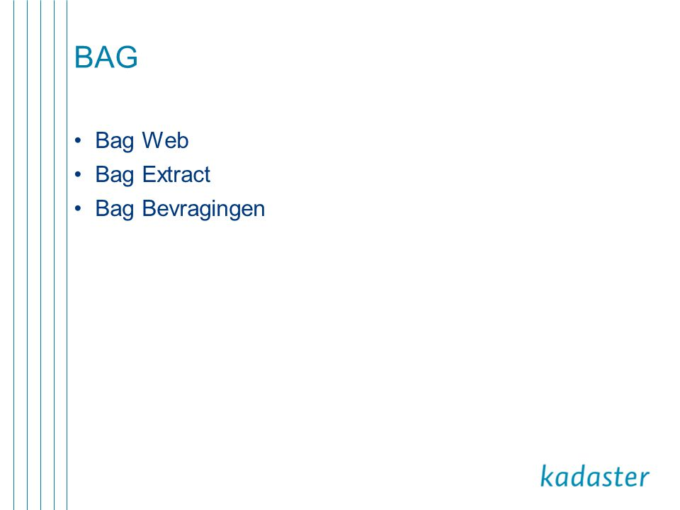 BAG •Bag Web •Bag Extract •Bag Bevragingen