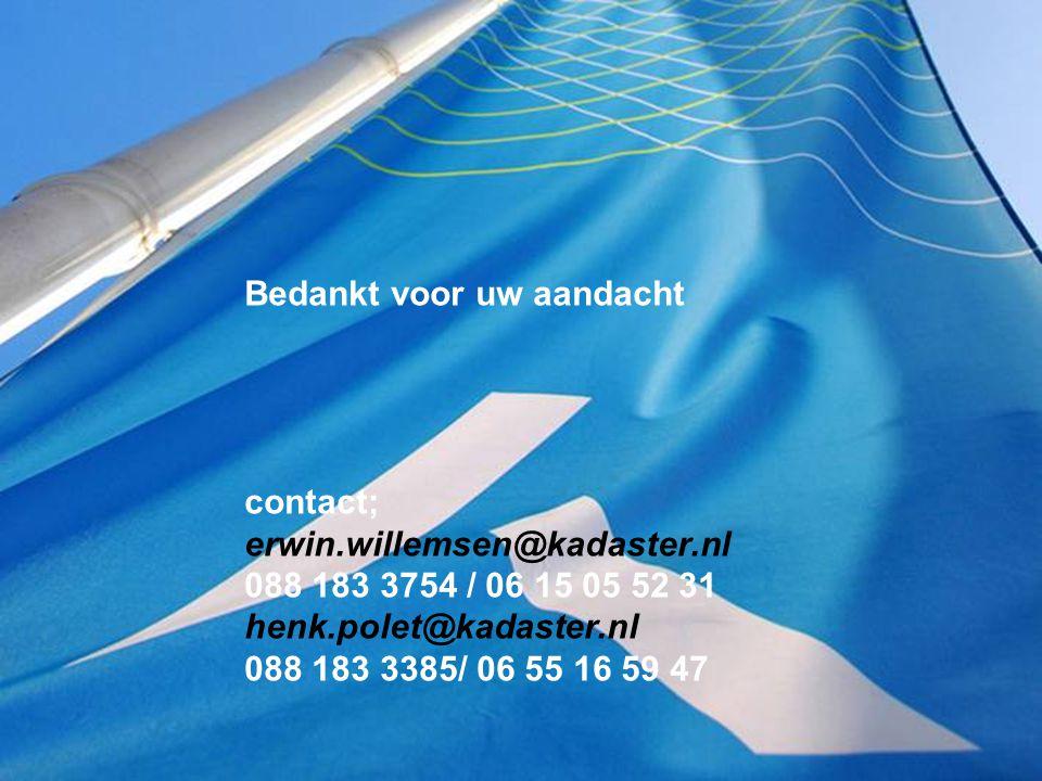 Bedankt voor uw aandacht contact; erwin.willemsen@kadaster.nl 088 183 3754 / 06 15 05 52 31 henk.polet@kadaster.nl 088 183 3385/ 06 55 16 59 47