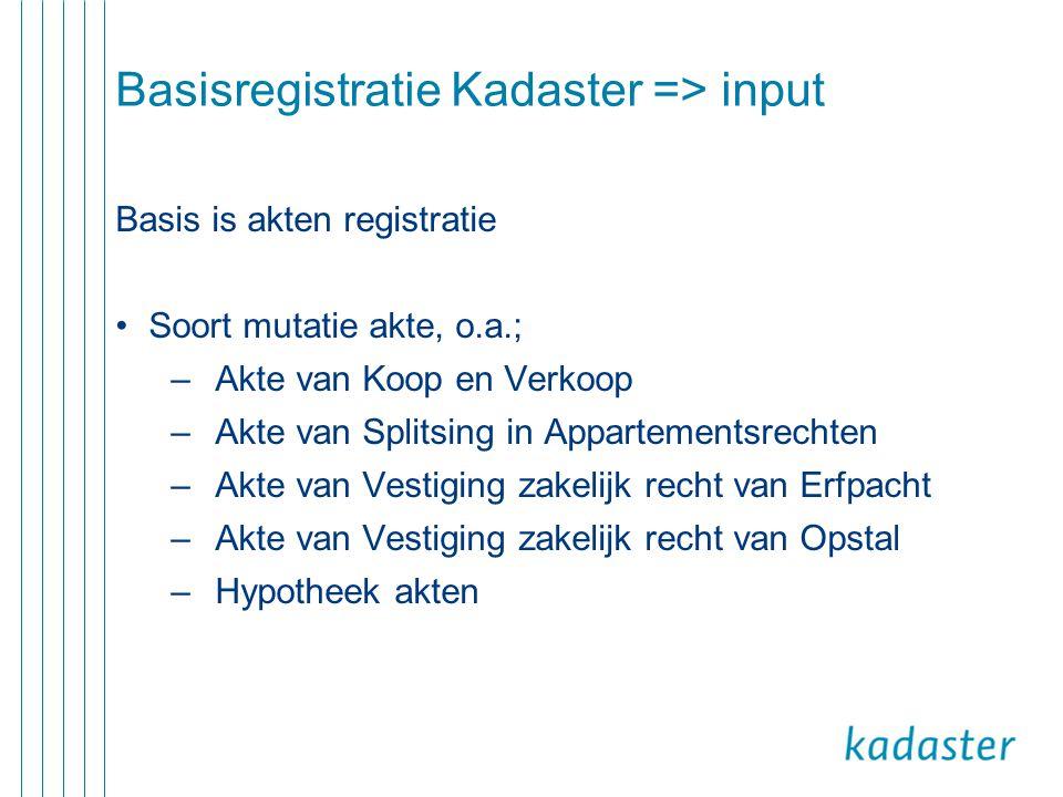 Basisregistratie Kadaster => input Basis is akten registratie •Soort mutatie akte, o.a.; –Akte van Koop en Verkoop –Akte van Splitsing in Appartements