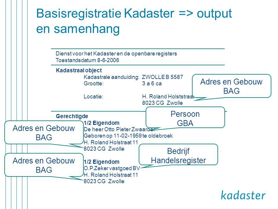 Basisregistratie Kadaster => output en samenhang Dienst voor het Kadaster en de openbare registers Toestandsdatum 8-6-2006 Kadastraal object Kadastral