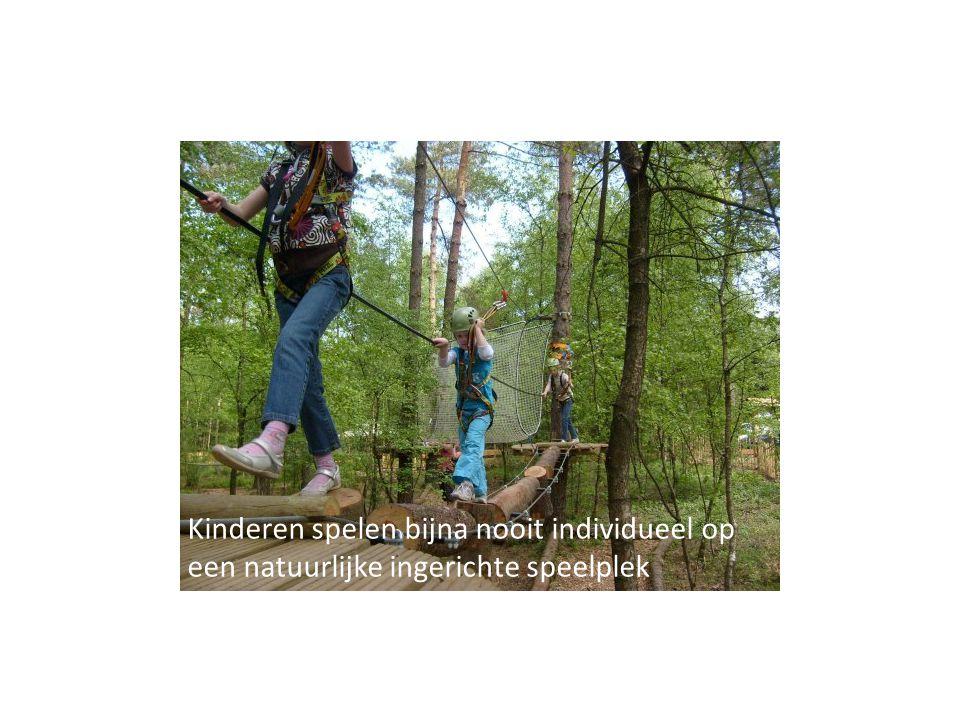 Kinderen spelen bijna nooit individueel op een natuurlijke ingerichte speelplek