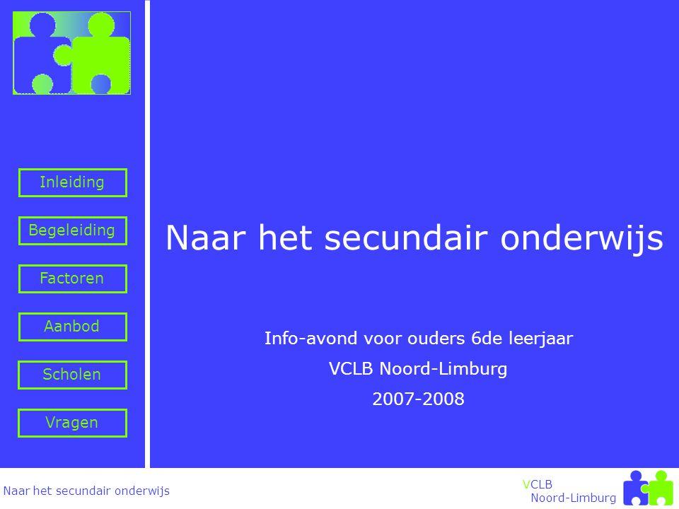 Naar het secundair onderwijs Inleiding Begeleiding VCLB Noord-Limburg Naar het secundair onderwijs Info-avond voor ouders 6de leerjaar VCLB Noord-Limburg 2007-2008 Factoren Aanbod Vragen Scholen