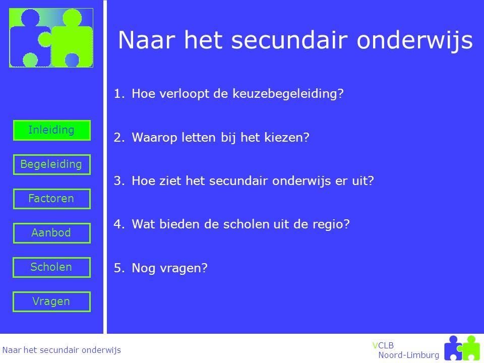 Naar het secundair onderwijs Inleiding Begeleiding VCLB Noord-Limburg Naar het secundair onderwijs 1.Hoe verloopt de keuzebegeleiding.