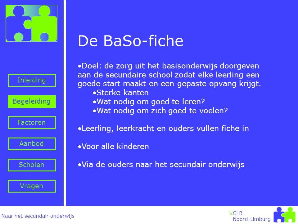 Naar het secundair onderwijs Inleiding Begeleiding VCLB Noord-Limburg Factoren Aanbod Vragen Scholen De BaSo-fiche •Doel: de zorg uit het basisonderwijs doorgeven aan de secundaire school zodat elke leerling een goede start maakt en een gepaste opvang krijgt.