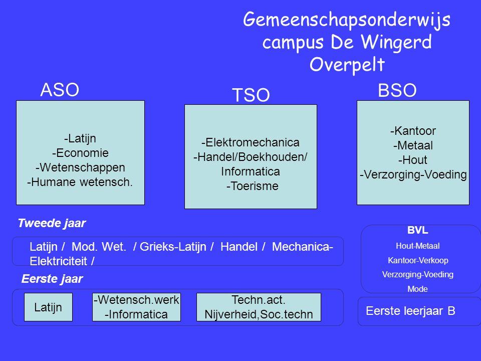 Eerste jaar Tweede jaar Gemeenschapsonderwijs campus De Wingerd Overpelt Eerste leerjaar B BVL Hout-Metaal Kantoor-Verkoop Verzorging-Voeding Mode Latijn / Mod.