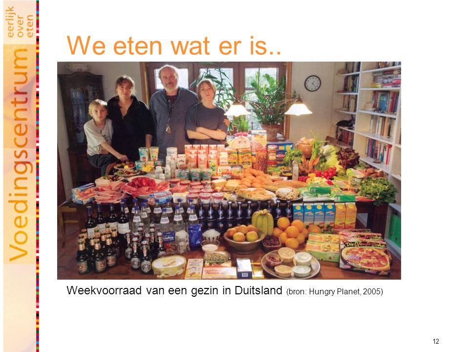 12 We eten wat er is.. Weekvoorraad van een gezin in Duitsland (bron: Hungry Planet, 2005)