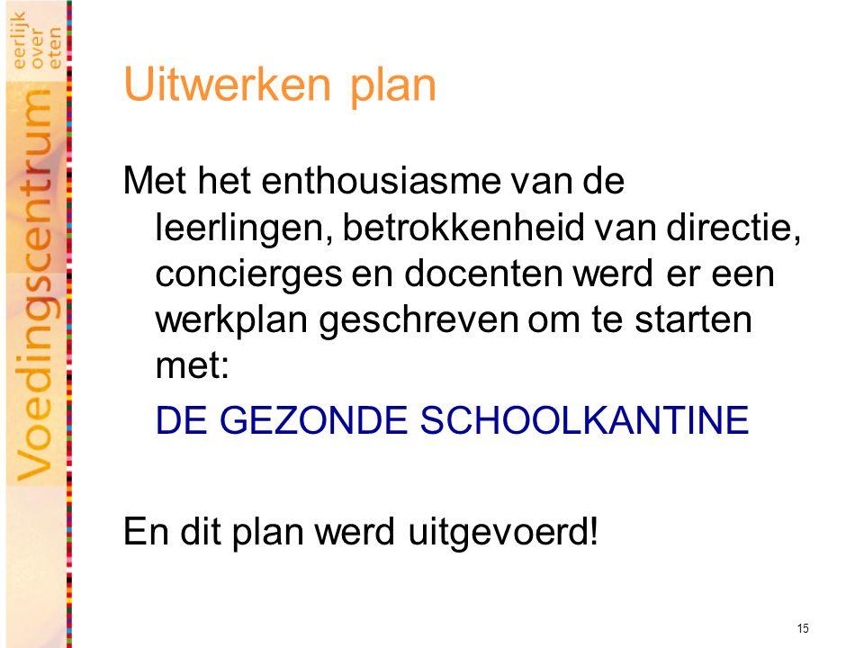 15 Uitwerken plan Met het enthousiasme van de leerlingen, betrokkenheid van directie, concierges en docenten werd er een werkplan geschreven om te starten met: DE GEZONDE SCHOOLKANTINE En dit plan werd uitgevoerd!