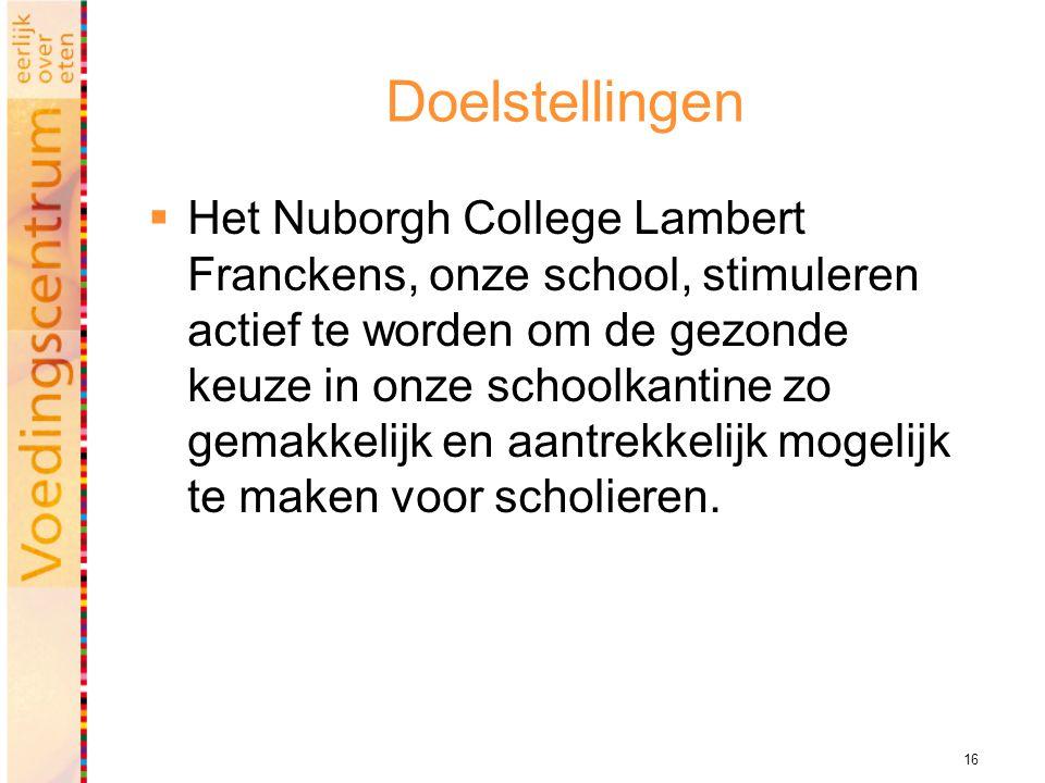 16 Doelstellingen  Het Nuborgh College Lambert Franckens, onze school, stimuleren actief te worden om de gezonde keuze in onze schoolkantine zo gemakkelijk en aantrekkelijk mogelijk te maken voor scholieren.
