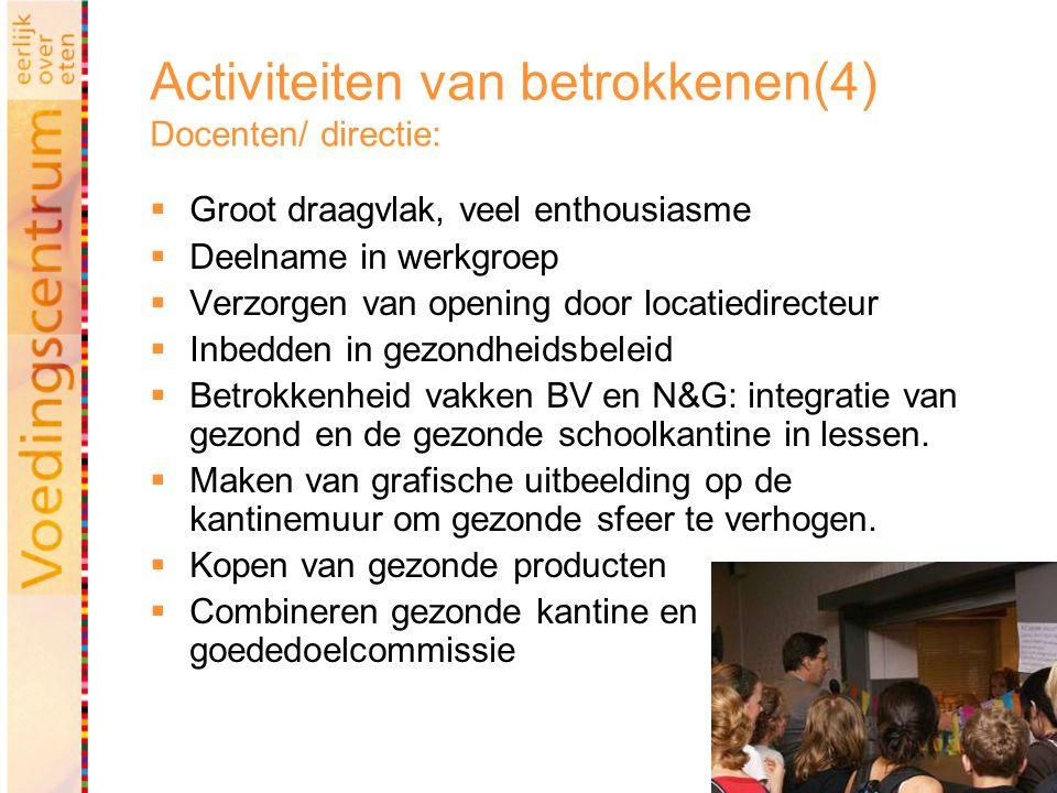 43 Activiteiten van betrokkenen(4) Docenten/ directie:  Groot draagvlak, veel enthousiasme  Deelname in werkgroep  Verzorgen van opening door locatiedirecteur  Inbedden in gezondheidsbeleid  Betrokkenheid vakken BV en N&G: integratie van gezond en de gezonde schoolkantine in lessen.