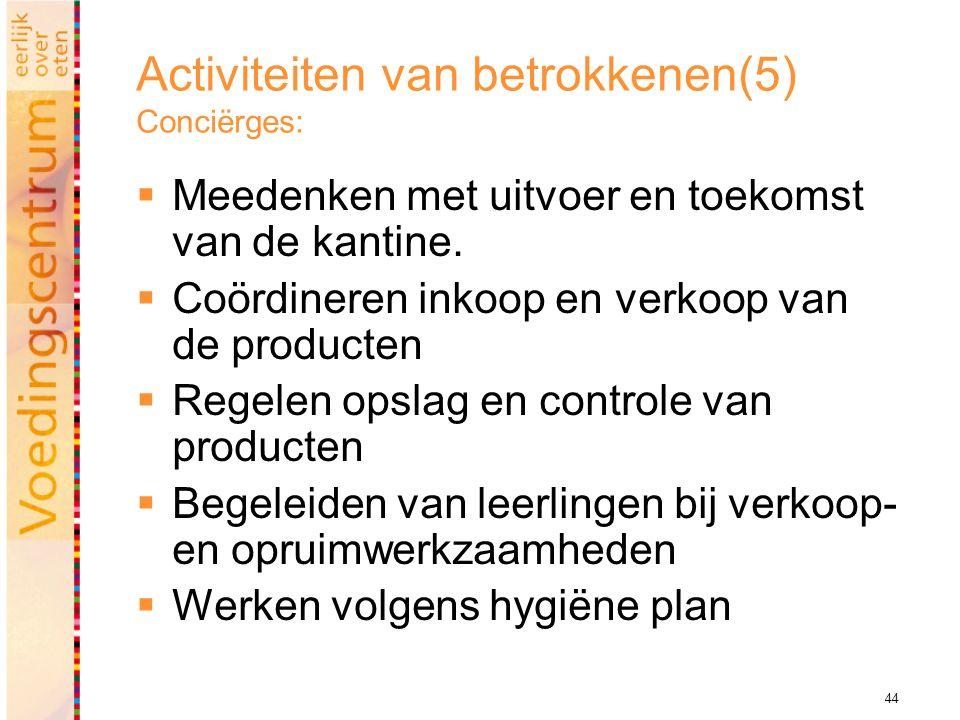 44 Activiteiten van betrokkenen(5) Conciërges:  Meedenken met uitvoer en toekomst van de kantine.