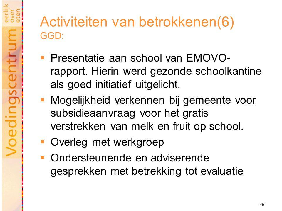 45 Activiteiten van betrokkenen(6) GGD:  Presentatie aan school van EMOVO- rapport.
