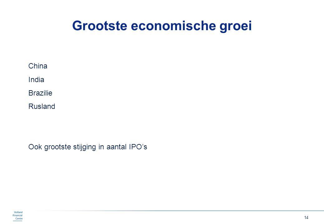 14 Grootste economische groei China India Brazilie Rusland Ook grootste stijging in aantal IPO's