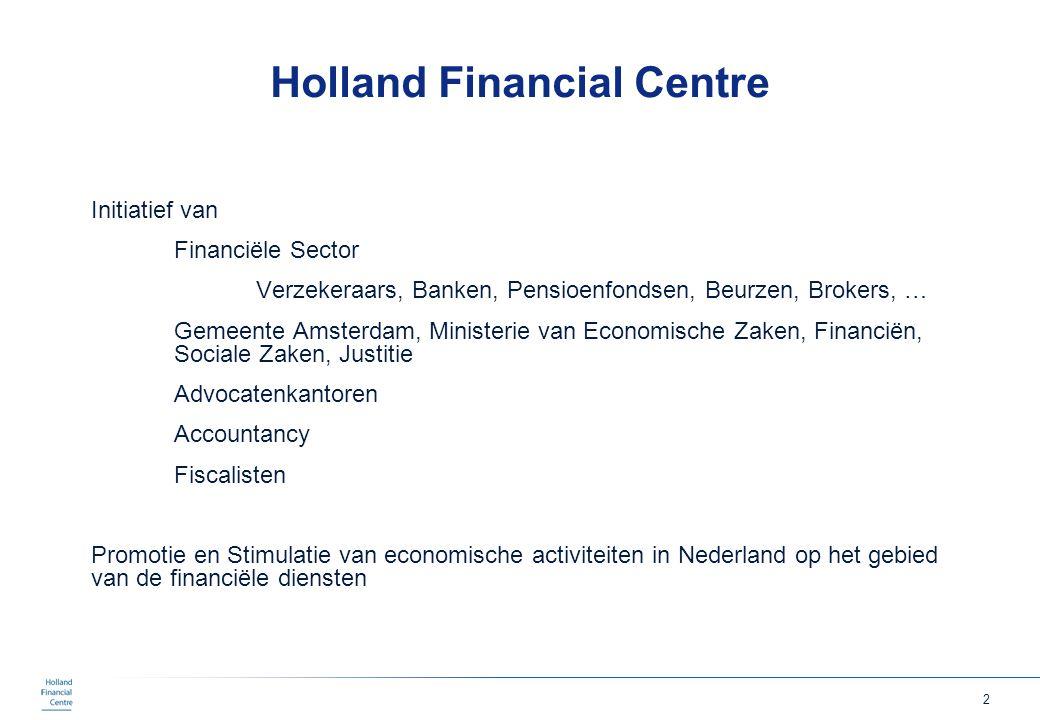 2 Holland Financial Centre Initiatief van Financiële Sector Verzekeraars, Banken, Pensioenfondsen, Beurzen, Brokers, … Gemeente Amsterdam, Ministerie