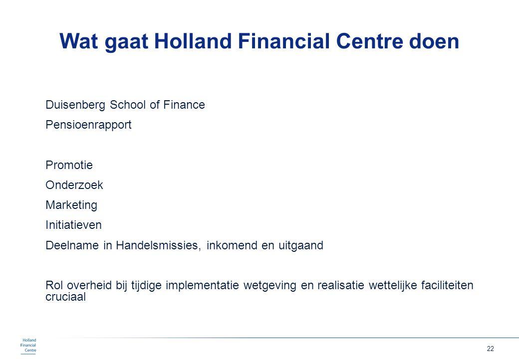 22 Wat gaat Holland Financial Centre doen Duisenberg School of Finance Pensioenrapport Promotie Onderzoek Marketing Initiatieven Deelname in Handelsmi