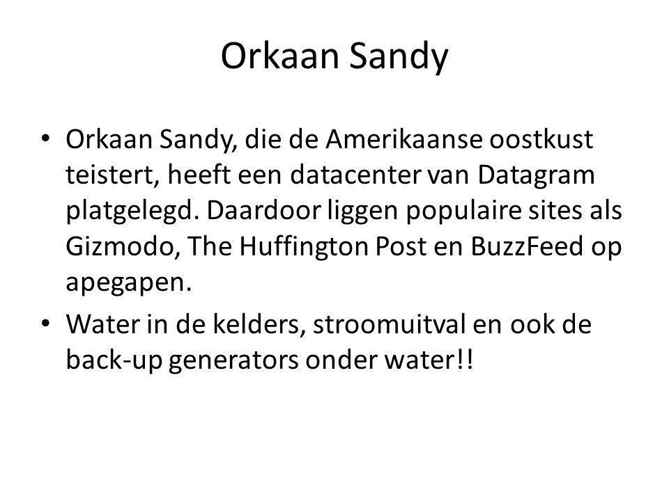 Orkaan Sandy • Orkaan Sandy, die de Amerikaanse oostkust teistert, heeft een datacenter van Datagram platgelegd.