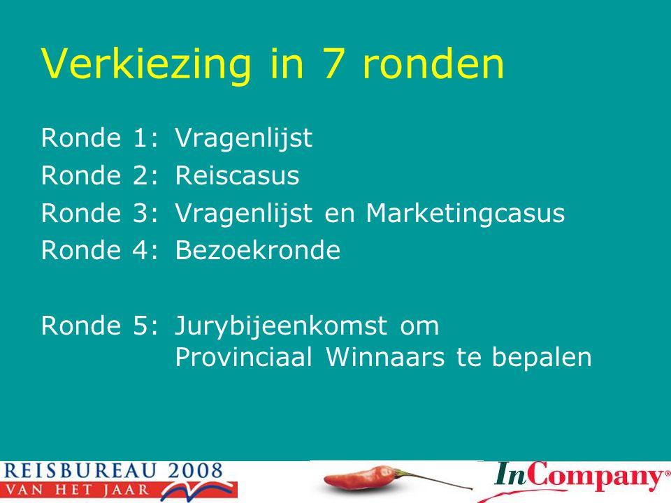 Verkiezing in 7 ronden Ronde 1:Vragenlijst Ronde 2:Reiscasus Ronde 3:Vragenlijst en Marketingcasus Ronde 4:Bezoekronde Ronde 5:Jurybijeenkomst om Provinciaal Winnaars te bepalen