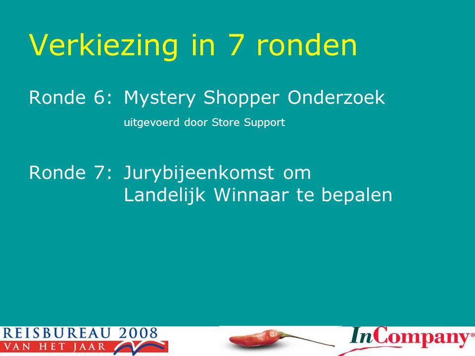Verkiezing in 7 ronden Ronde 6:Mystery Shopper Onderzoek uitgevoerd door Store Support Ronde 7:Jurybijeenkomst om Landelijk Winnaar te bepalen