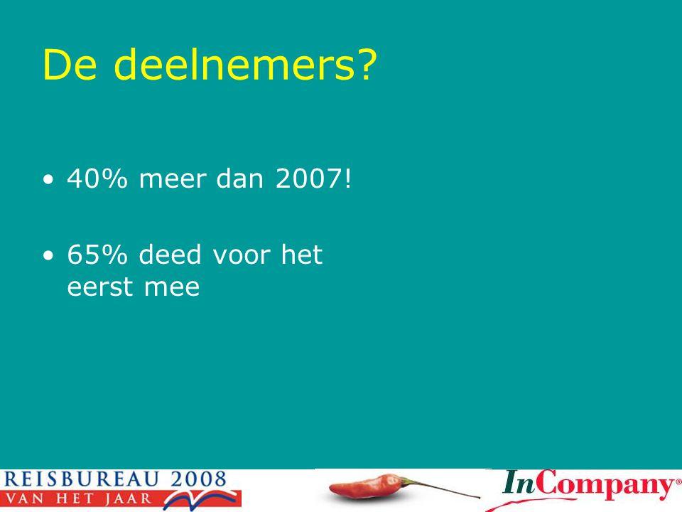 De deelnemers? •40% meer dan 2007! •65% deed voor het eerst mee