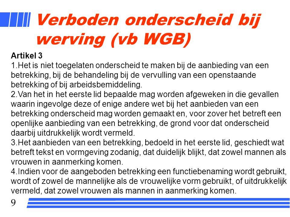 9 Verboden onderscheid bij werving (vb WGB) Artikel 3 1.Het is niet toegelaten onderscheid te maken bij de aanbieding van een betrekking, bij de behandeling bij de vervulling van een openstaande betrekking of bij arbeidsbemiddeling.