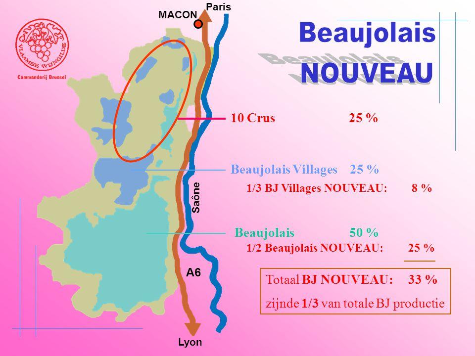 Beaujolais 50 % A6 Paris Lyon Saône MACON Beaujolais Villages 25 % 10 Crus 25 % 1/3 BJ Villages NOUVEAU: 8 % 1/2 Beaujolais NOUVEAU: 25 % Totaal BJ NO