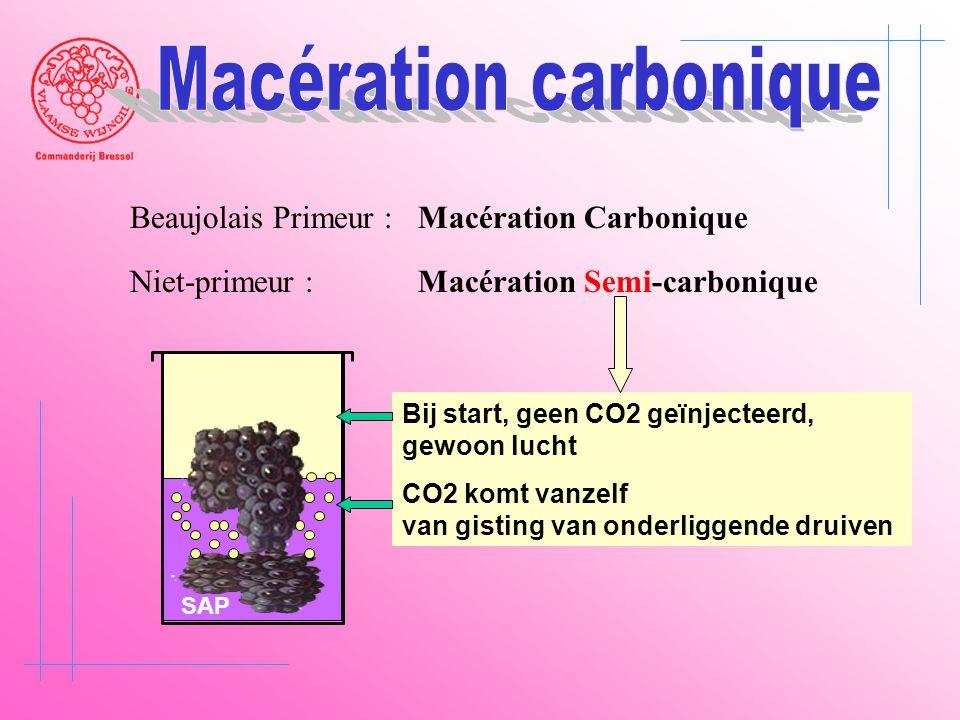 Beaujolais Primeur : Macération Carbonique Niet-primeur :Macération Semi-carbonique SAP Bij start, geen CO2 geïnjecteerd, gewoon lucht CO2 komt vanzel