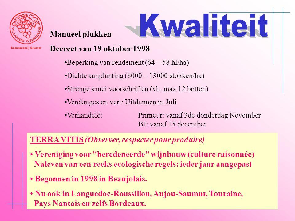Manueel plukken Decreet van 19 oktober 1998 •Beperking van rendement (64 – 58 hl/ha) •Dichte aanplanting (8000 – 13000 stokken/ha) •Strenge snoei voor
