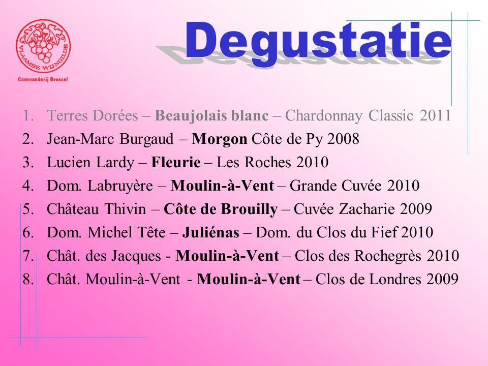 1.Terres Dorées – Beaujolais blanc – Chardonnay Classic 2011 2.Jean-Marc Burgaud – Morgon Côte de Py 2008 3.Lucien Lardy – Fleurie – Les Roches 2010 4