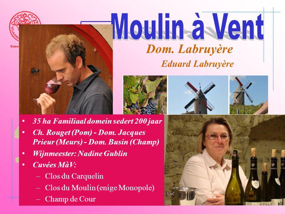 A6 Saône Belleville Le Bois d'oingt Villefranch e Beaujeu Dom. Labruyère Eduard Labruyère • 35 ha Familiaal domein sedert 200 jaar • Ch. Rouget (Pom)