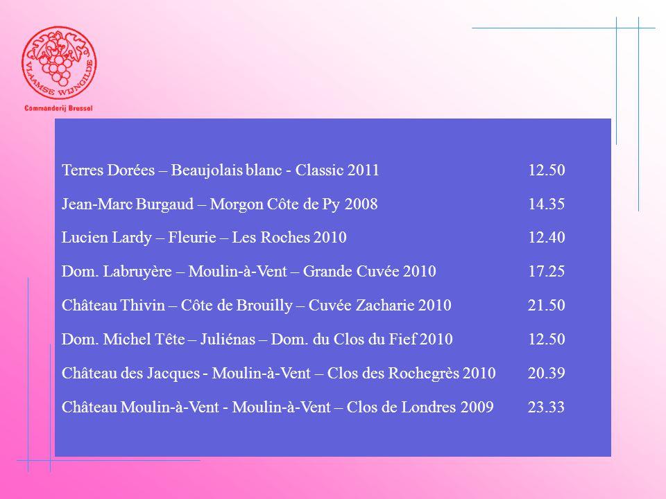 Terres Dorées – Beaujolais blanc - Classic 2011 12.50 Jean-Marc Burgaud – Morgon Côte de Py 200814.35 Lucien Lardy – Fleurie – Les Roches 201012.40 Do